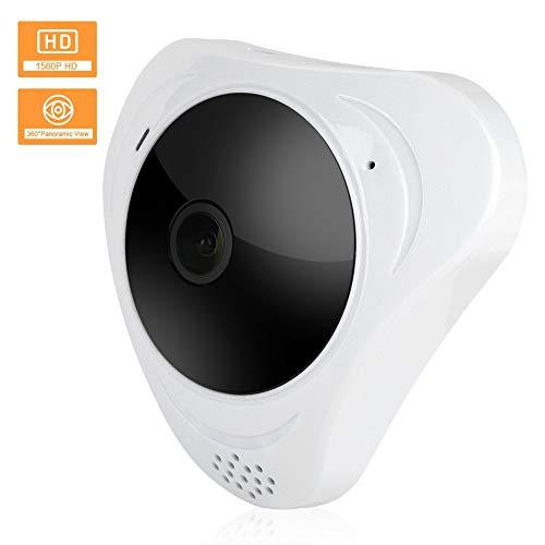 Cámara de seguridad inalámbrica, 3MP HD Wifi IP cámara de vigilancia ojo de pez con panorámica de 360 grados + IR vision nocturna para el hogar/oficina(EU)