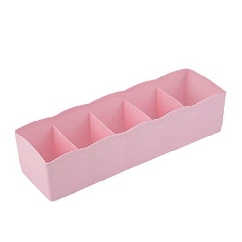 Formulaone Cinco Rejillas multifunción Ropa Interior Calcetines Caja de Almacenamiento de Cosas pequeñas Caja de Acabado de plástico cajón Escritorio Cama Armario-Rosa