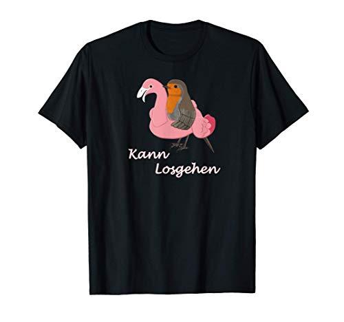 Rotkehlchen mit Flamingo Schwimmreifen Strand Urlaub Vogel T-Shirt