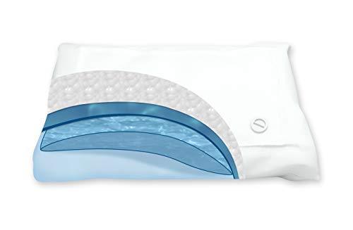 Cillows - Wasserkissen - Größe: 40 x 80 cm - weiß - Wasserkissen mit wasserfüllung Geeignet für Rücken-, Bauch- und Seitenschläfer - Orthopädische Wasserkissen