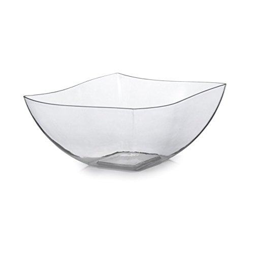 Elegante cuencos cuadrados con forma de onda china como platos de plástico duro – transparente – 450 ml – 4 piezas