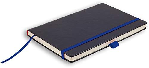 Leykam Denkzettel Notizbuch Softtouch Blaues Elastikband Stifthalterung Pockettasche kariert 19x25cm