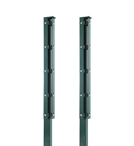 Arvotec 2X Eckpfosten mit Abdeckleiste für Stabmattenzaun, 60x40x1800 mm, grün - geeignet für Zaunhöhe: 1,2-1,23 m - inkl. Befestigung und Abdeckleiste