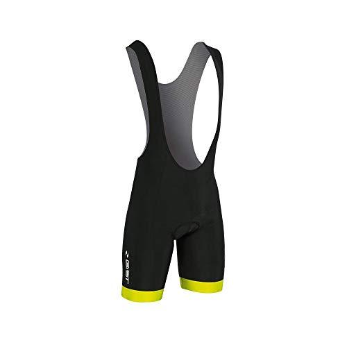 Motodak fietsbroek voor volwassenen, korte bretels, Coolmax zwart, rand neongeel XL