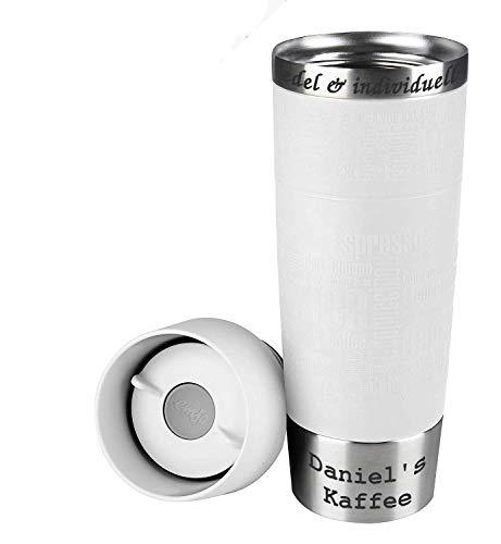 Emsa 515614 Isolierbecher 500 ml, Quick Press Verschluss, Travel Mug Grande Weiß + Lasergravur