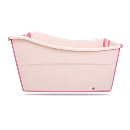 YJTGZ bañera Plegable para Adultos con Tapa, Piscina de plástico para bebés, baño para niños, Barril, hogar, bañera portátil de Cuerpo Entero, Azul/Rosa 100 * 56 * 50 cm (Color: Rosa)