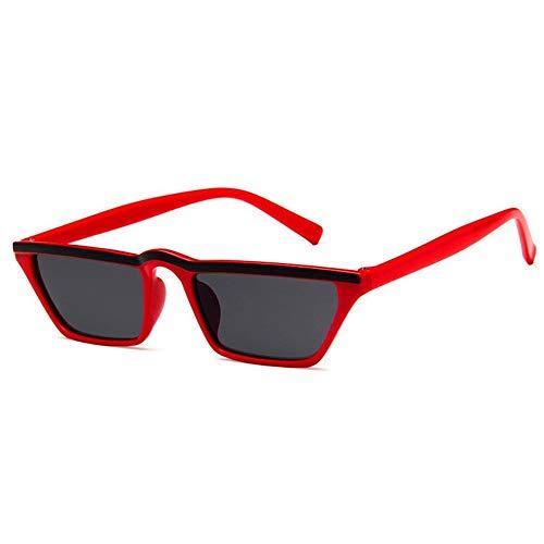 WDDYYBF Sonnenbrillen, Kleines Quadrat Kontaktlinsen Sonnenbrille Frauen Männer Vintage Mode Sonnenbrille Retro Steampunk Eyewears Weiblich Männlich Schutzbrille Uv400 Rot Gestell Schwarz Objektiv