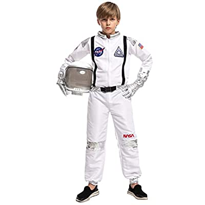 Halloween Child Unisex Astronaut Costume with Silver Stripes for Party Favors (Medium (8-10yr)) from
