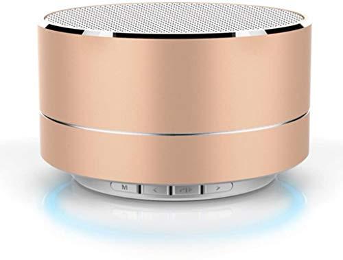 Tragbarer Mini-Bluetooth-Lautsprecher, Aluminium, kabellos, Stereo, Bluetooth-Lautsprecher mit Freisprecheinrichtung, integrierter Micro-SD-TF-Kartensteckplatz, Soundbox (Gold)