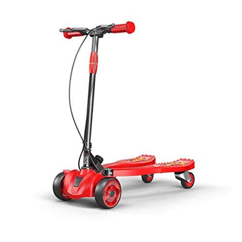 WANGLXST Moda Patinete Plegable de 3 Ruedas, Scooters Speeder Empuja a la Deriva Plegable con Altura Ajustable, Ruedas Intermitentes, para niños y niñas Juguete