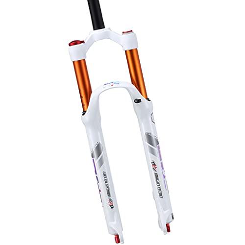 Jejy Horquilla MTB 26 Pulgadas, Suspensión for Moto de Cross Horquillas de Aire Bicicleta de Montaña Tubo Recto 1-1/8' Ligera Aleación de Magnesio (Color : White, Size : 26)