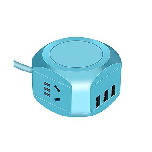 Regletas Eléctricas La regleta de alimentación Cuadrada Viene con Carga inalámbrica para teléfono móvil con Toma de línea Regleta de alimentación de Carga rápida USB Inteligente,Blue,1.5M