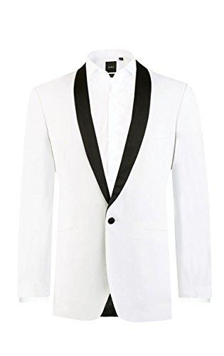 Dobell Smoking Jacket, weiß, Slimfit, schwarzer Schalkragen-50