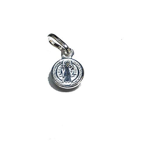 perlascarel Colgante Medalla San Benito y Cruz de San Benito pequeña 8 mm Plata de Ley y Estuche