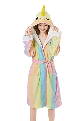 XVOVX Adult Lady Narwhal Polar Fleece Robe Soft Bathrobe for Women Girls