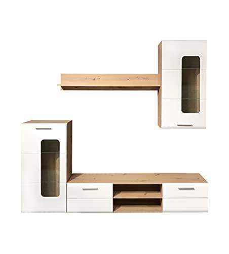MargERIAZ - Conjunto de mueble de TV de pared, color blanco y cristal claro