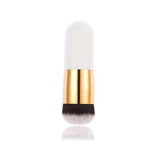 1pc Maquillage Professionnel Pinceau Plat Pinceau Kabuki Grande Tête Ronde À Poils Doux Pinceau Fond De Teint En Poudre, Crème Ou Cosmétiques Liquide Blender Make Up Tool (blanc)