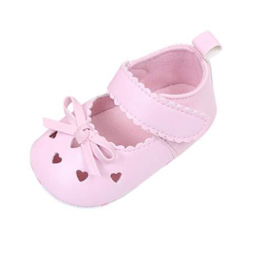 Zapatos Bebé Niña 2019 SHOBDW Zapatos De Cuna Zapatillas Antideslizantes De Suela Blanda Zapatos Bowknot De Velcro Verano Zapatos Bebé Recién Nacida Zapatos Bebe Primeros Pasos(Rosa,12~18)