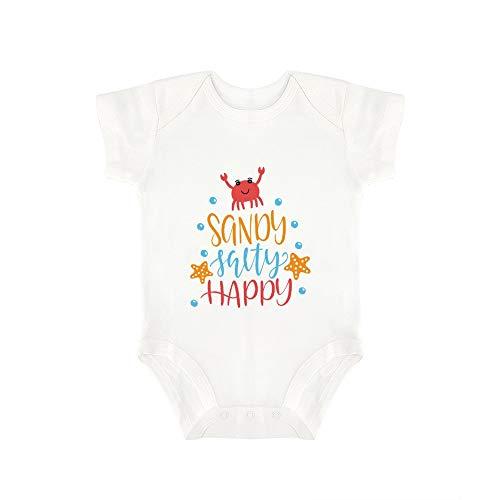 Promini Combinaison bébé en forme de sable, salé heureux (2) Body bébé en une seule pièce Barboteuse - Blanc - 18 mois