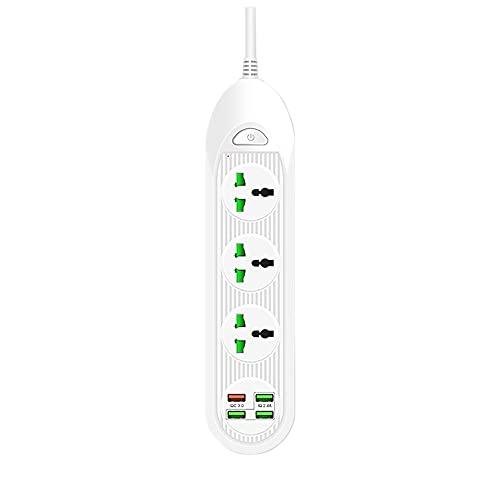 Notewisher Regleta de AlimentacióN con 3 Salidas 4 Puertos USB QC3.0 18W 3000W 16A Protector Contra Sobretensiones de Cable de ExtensióN de 6.5 Pies, Enchufe Blanco-UE