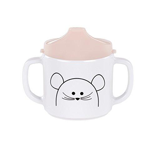 LÄSSIG Tasse Trinklernbecher Schnabeltasse Kinder Baby Kleinkind mit Henkeln rutschfest spülmaschinengeeignet Melamin, Little Chums Mouse, rosa