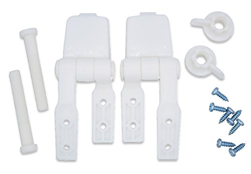 White Plastic Toilet Seat Hinge Replacement with Bolts Screw and Nuts