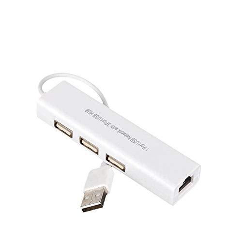 CamKpell USB Profesional a RJ45 3 Puertos USB 2.0 Ethernet RJ45 Adaptador de concentrador de Tarjeta de Red LAN con Cable paraiospara Android - Blanco