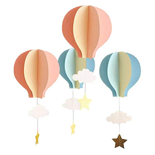 Toyvian 3D Paper Decoration, Cloud Hot Air Balloon Hanging Ornaments for Wedding Baby Shower Birthday Party Decorations - 4pcs