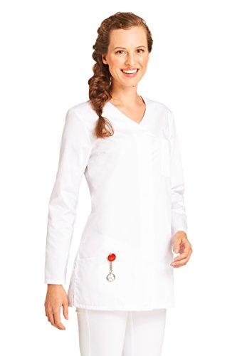 clinicfashion 10112055 Kurzkasack Langarm weiß für Damen, Mischgewebe, Größe 48
