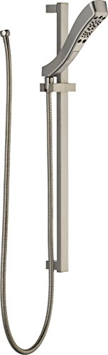 Delta Faucet 4-Spray H2Okinetic Slide Bar Hand Held Shower with Hose, Stainless 51552-SS