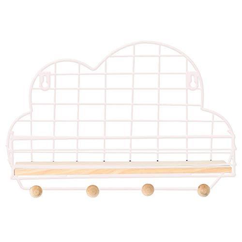 Estantes flotantes con forma de nube, estantes de almacenamiento de madera rústica con alambre de metal en forma de nube para dormitorio, sala de estar, baño, cocina y habitación de los niños