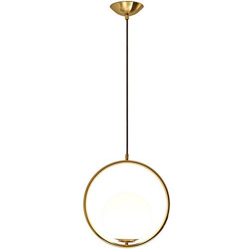 Moderne créative Lampe suspension boule design laiton Luminaire suspendu avec abat-jour en verre blanc lait minimaliste industriell