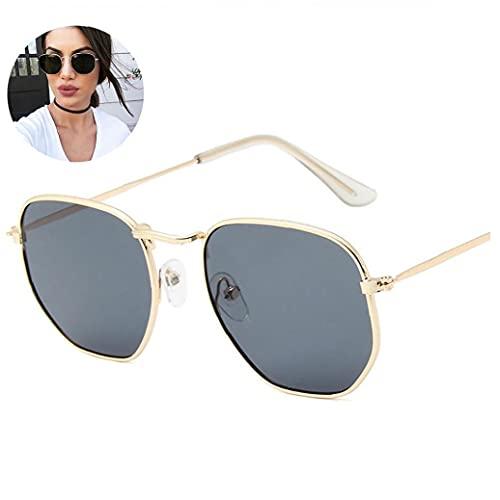 NIDONE Marco 1PC Fino de Metal Gafas de Sol polarizadas Polígono Lente reflejada protección UV para Hombres y Mujeres (Marco del Oro Gris de la Lente)