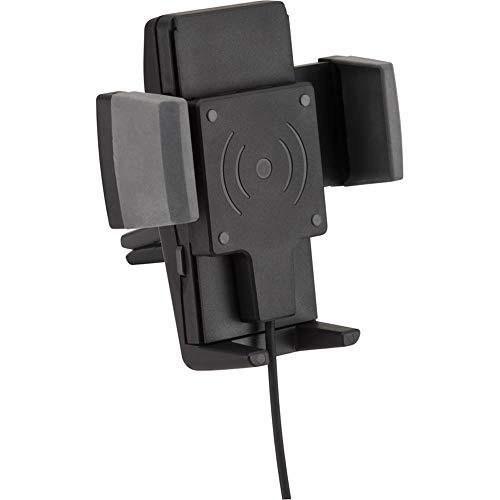 hr-imotion Universal Fast Wireless Charging 5W, 7,5W, 10W Halterungslösung für Smartphones zwischen 57mm & 86mm Breite [Designed in Germany I inkl. Qualitäts-Charger I 360° Drehbar I Lüftung]