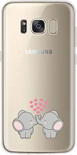 Simar Products - Cover in silicone per Samsung Galaxy S8 Plus, motivo: due elefanti con cuori