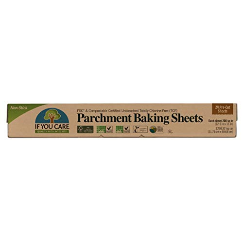 """If You Care Parchment Paper Baking Sheets – 12 Pack of 24-Count Precut Liners - Unbleached, Chlorine Free, Greaseproof, Silicone Coated – Standard Size – Fits 12.5"""" x 16"""" Pans"""