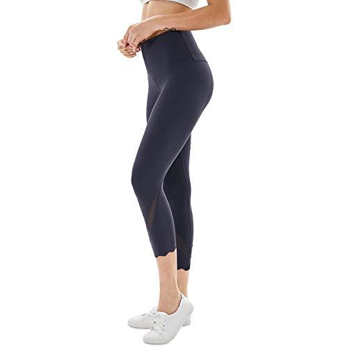 B/H Collant Tulle Sexy Taille Haute,Pantalon Court de Yoga Moulant Taille Haute pour Femme, Pantalon de Yoga pour soulèvement des Hanches pêche-Lilas Grey_XL