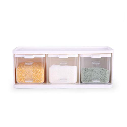 LXM Jarrón de condimento, caja de condimento, botella de condimento, suministros de cocina, juego de tres piezas de plástico para el hogar, con cuchara, color blanco (color: -, tamaño: -)