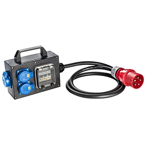 SIROX® CEE - Caja adaptadora de goma con enchufe CEE 32 A toma 230 V ~ 3, CEE 16 A, 400 V ~ sin