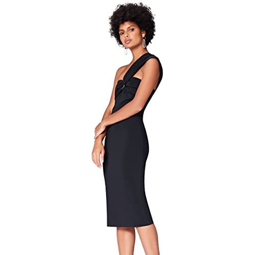 Marchio Amazon - find. Vestito Midi Asimmetrico Donna, Nero (Schwarz), 44, Label: M