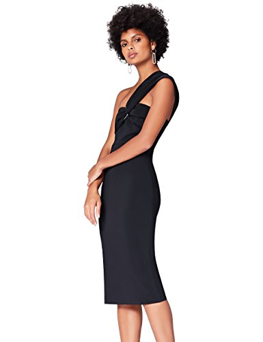 Amazon-Marke: find. Damen Asymmetrisches Midi-Kleid, Schwarz, 36, Label: S