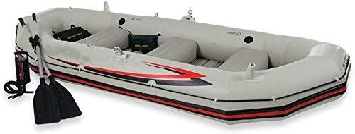 L.HPT Kayak Inflable, Marinero Profesional Barco Inflable para Cuatro Personas Barco de Asalto Barco de Vela Ligera Fondo Duro Duro anticolisión (Color: Gris, tamaño: 328x145x48 cm)