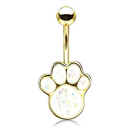 Pierced Owl Synthetic Opal Glitter Puppy Paw Belly Button Navel Ring (Gold...