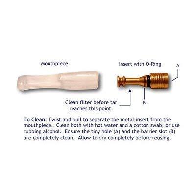 Tar Gard Permanent Filter System Reusable Cigarette Filter (1 Black Mouthpiece, 1 Clear Mouthpiece, Metal Filter)