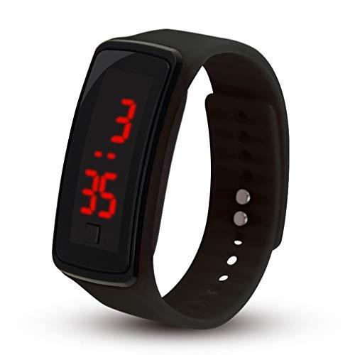 Reloj De Pulsera Electrónico con Correa De Reloj De Silicona Suave para Deportes Al Aire Libre Led para Mujer, Negro