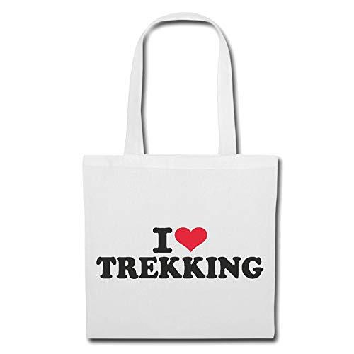 Tasche Umhängetasche I Love Trekking - Mountainbike - WANDERN - Marathon - TREKKINGS Rad Einkaufstasche Schulbeutel Turnbeutel in Weiß