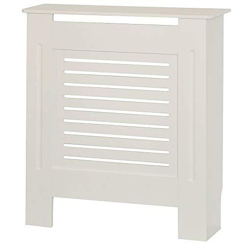 Radiator Cover Modern MDF Wood White Horizontal Slat Living Room Bedroom Hallway Cabinet (Small White)