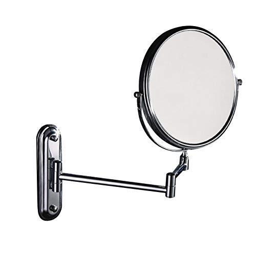 Bath Miroirs muraux pour Miroir de Douche - Miroir cosmétique à grossissement 3X avec Pivot Double Face de 8 Pouces,Silver_8inch