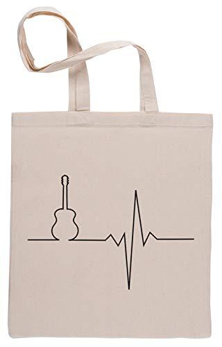 Gitarre Herz Einkaufstasche Shopping Bag Beige