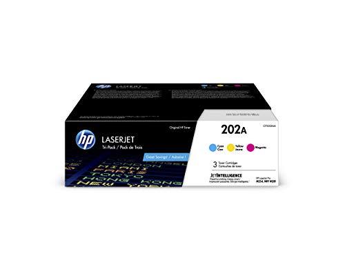 HP 202A | CF501A, CF502A, CF503A | 3 Toner Cartridges | Cyan, Magenta, Yellow | Works with HP LaserJet Pro M254, M281cdw, M281dw, M281fdw